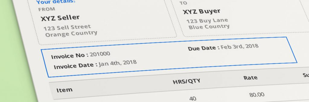 invoice number, issue date & due date
