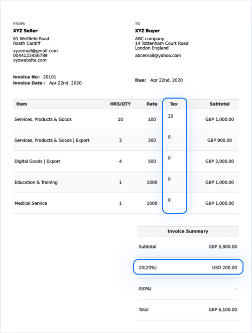 UK VAT Tax Invoice Template Example