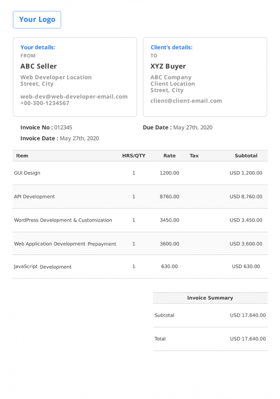 Web Developer Invoice